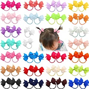 "DeD 50 Pcs 2"" Grosgrain Ribbon Pigtail Hair Bows Elastic Hair Ties Hair Bands Holders Hair Accessories for Baby Girls Infants Toddler Kids In Pairs"