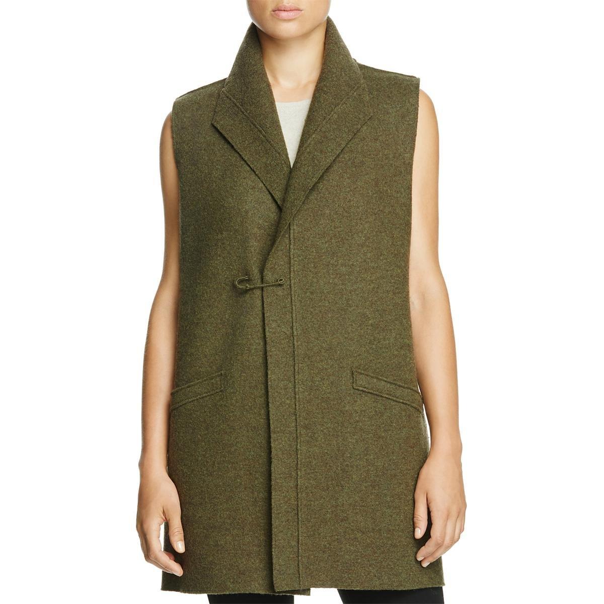 Eileen Fisher Womens Funnel Neck Sleeveless Sweater Vest Green L