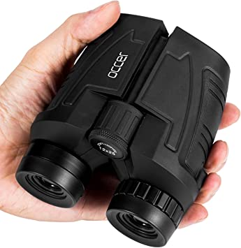 Prism/áticos Mini Telescopio de Prism/áticos Port/átiles Compactos e Impermeables para Adultos y Ni/ños con Vidrio /Óptico y Pel/ícula FMC Verde 10x25 Binoculares Plegable