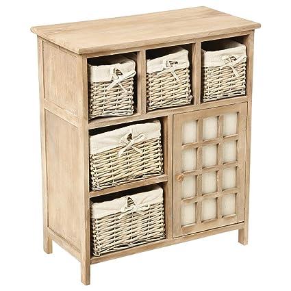 Mueble de madera con 5 cajones de cestas de mimbre con fundas ...