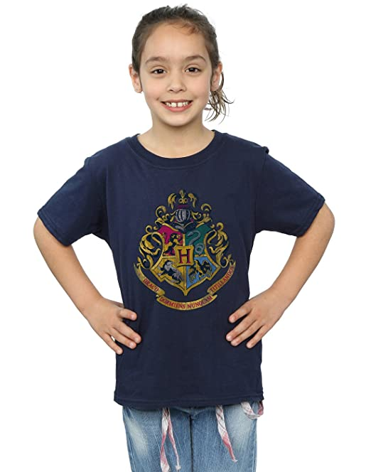 Harry Potter Niñas Hogwarts Distressed Crest Camiseta 5-6 Years Armada