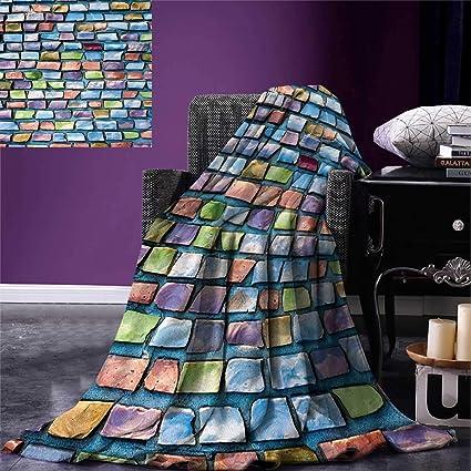 71e64f3cd8 Amazon.com: Geometric Weave Pattern Extra Long Blanket Colorful ...