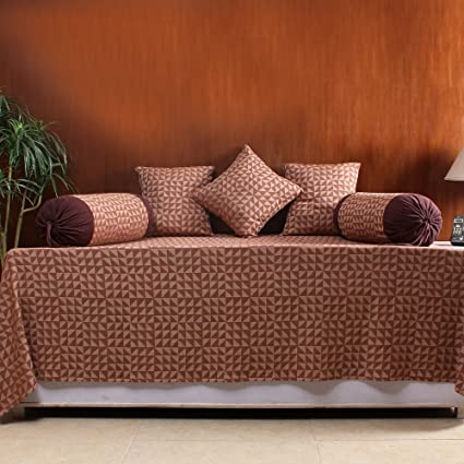 House This The Chaotic Triangles Cotton Diwan Set- 1 Single Bedcover, 2 Bolster Covers & 3 Cushion Covers -152x229 Cms/61x92 Inches -Brown