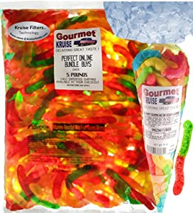 Gummi Gummy Worms Fruit Flavor Albanese - Bulk Candy 5Lb Bag With Worms Sour Neon Gourmet Kruise Signature Gift Bag 10 OZ (NET WT 5 LBS.10OZ) 2 Item Bundle
