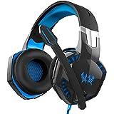 Micro Casque, SOWTECH(TM) Casque Gaming Filaire 3.5mm écouteur avec Stéréo LED Contrôle du Volume pour Ordinateur PC Téléphone etc (Bleu)