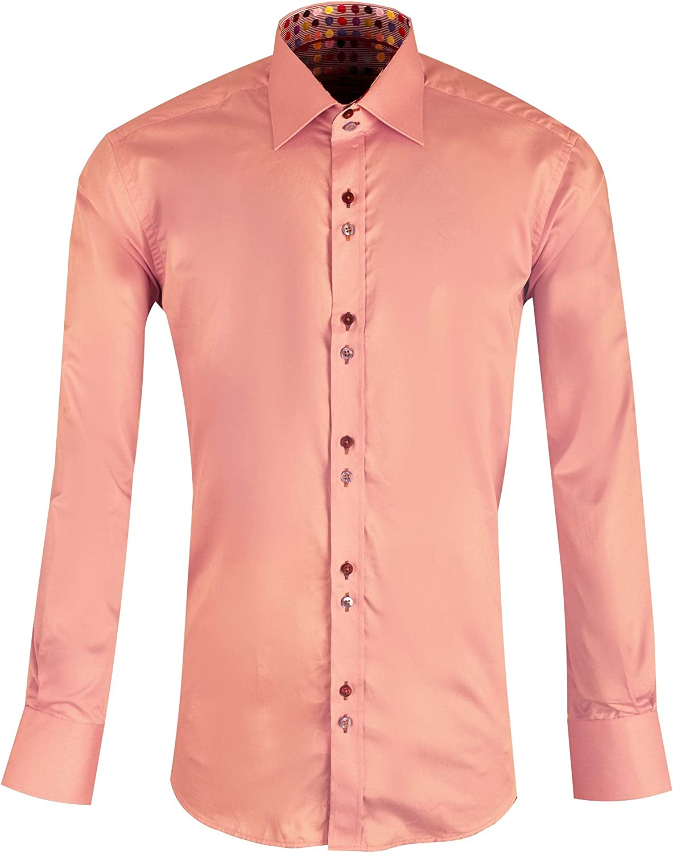 Claudio Lugli Spotted Multicoloured Paint Trim Mens Shirt Pink