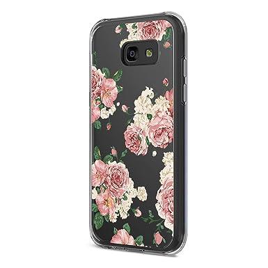 Teryei kompatibel mit Hülle Galaxy A5 2017, Crystal Clear Transparent Handyhülle TPU Silikon Backcover Case Blossom Blühen Bl