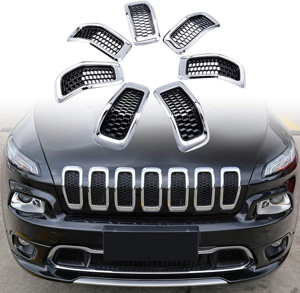 Astra Depot 7pcs Black Front Honeycomb Mesh Chrome Ring Grill Insert Compatible with 2014-2018 Jeep Cherokee