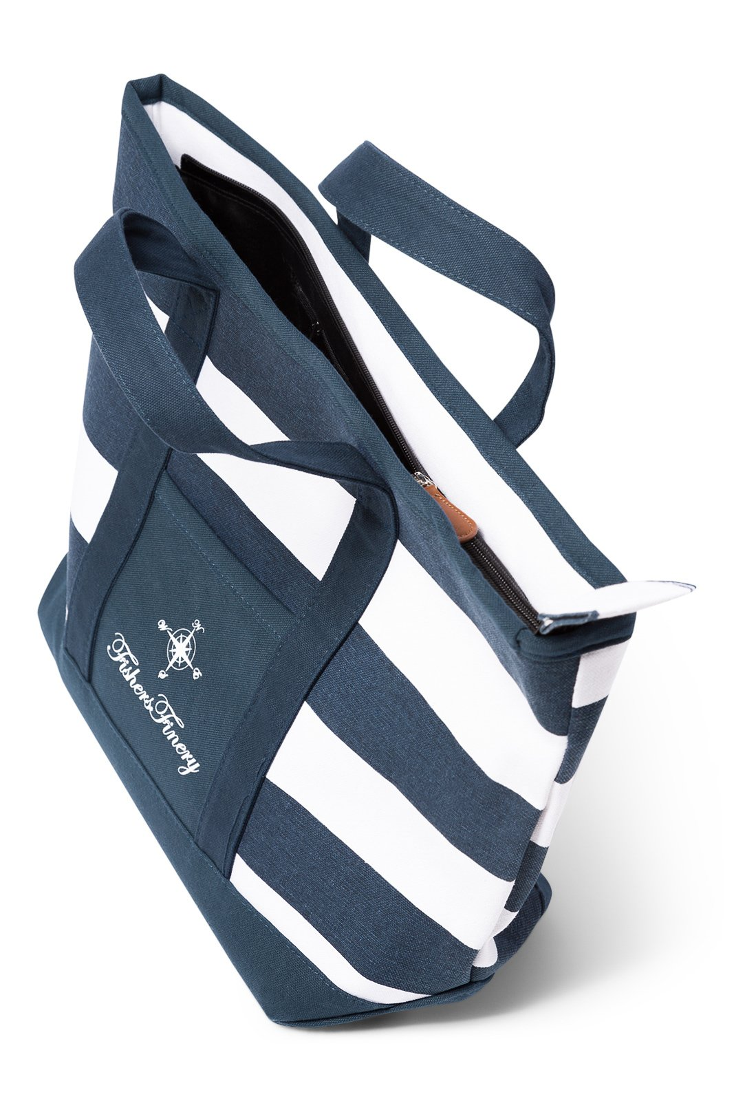 Fishers Finery Canvas Tote with Zipper and Lining with interior Pockets; Multi Sizes and Colors (Navy, S) by Fishers Finery (Image #2)