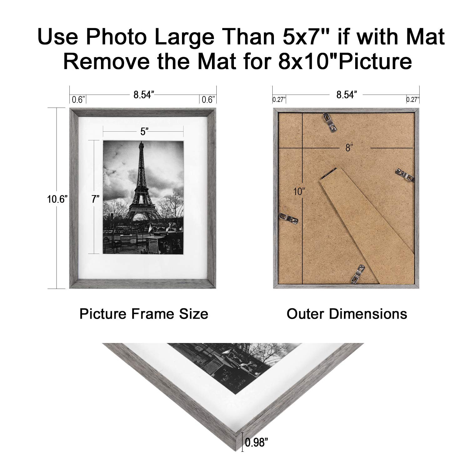 upsimples 8x10 Picture Frame with Real Glass and Mat,Rustic Photo Frames for Wall or Tabletop Display,Set of 5 by upsimples (Image #3)