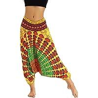 Nuofengkudu Tailandeses Pantalones Cintura Alta Estampado Baja