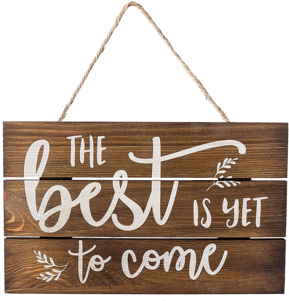 """Outshine –The Best Is Yet to Come Wooden Inspirational Quote Sign, Rustic  Wall Décor, 23""""x23"""" Hand-Stained Hanging Home Decoration Gift"""
