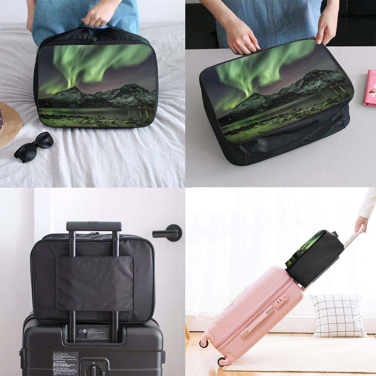 Beautiful Space Aurora Canvas Travel Weekender Bag,Fashion Custom Lightweight Large Capacity Portable Luggage Bag,Suitcase Trolley Bag