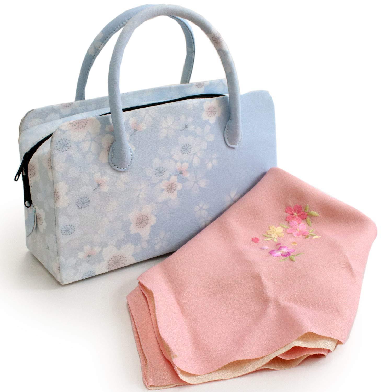 きもの京小町 バッグ 風呂敷 2点セット レディース 着物 和装 刺繍 B07QBZ3JQD 水色地桜柄