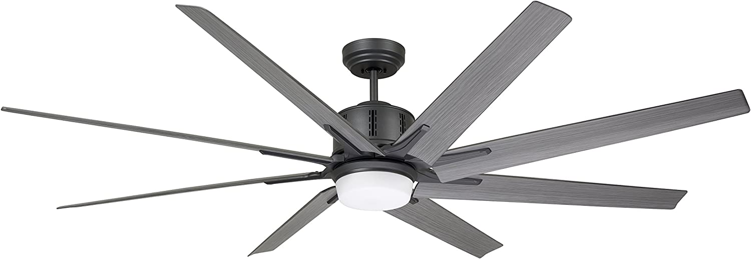 kathy ireland Home Aira Eco LED Large Ceiling Fan with Light   Modern Integrated Lighting Fixture with 8 Blades and 6-Speed Wall Control, Graphite, 72 Inches