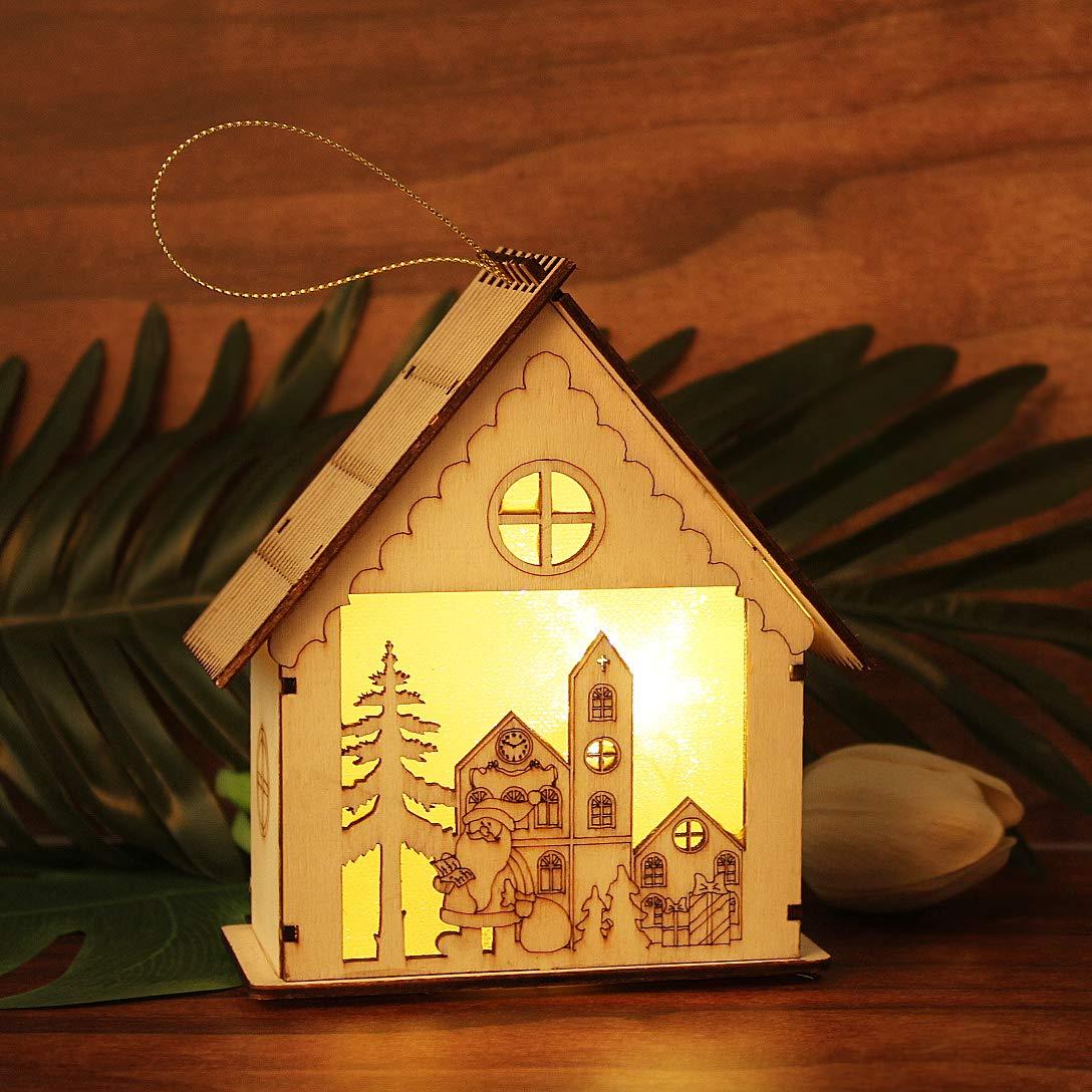 iMucci Christmas Luminous Wooden Bell Tower Decoration Desktop Decoration Children Luminous Toy