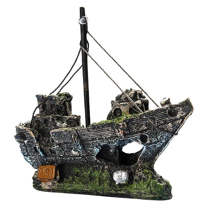 Piebo Barco Vista del Barco Acuario Rocalla Resina Escondite Cueva Árbol Pecera Ornamento Decoración: Amazon.es: Jardín