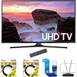 "Samsung 40"" 4K Ultra HD Smart LED TV 2017 Model (UN40MU6300) with 2x 6ft High Speed HDMI Cable Black, Universal Screen Cleaner for LED TVs & Durable HDTV and FM Antenna"