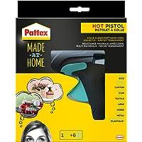 Pattex Made at Home Heißklebepistole/Klebepistole mit mechanischem Vorschub und hitzeisolierter Düse/Set mit Pattex Heißklebepistole + 6 Klebesticks, Ø 11 mm