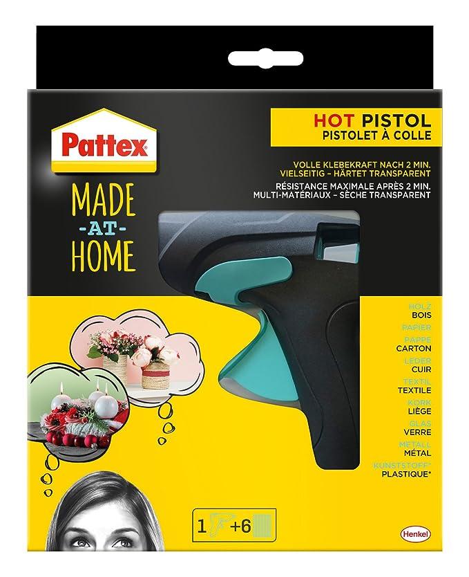 Pattex Made at Home Heißklebepistole / Klebepistole mit mechanischem Vorschub und hitzeisolierter Düse / Set mit Pattex Heißk