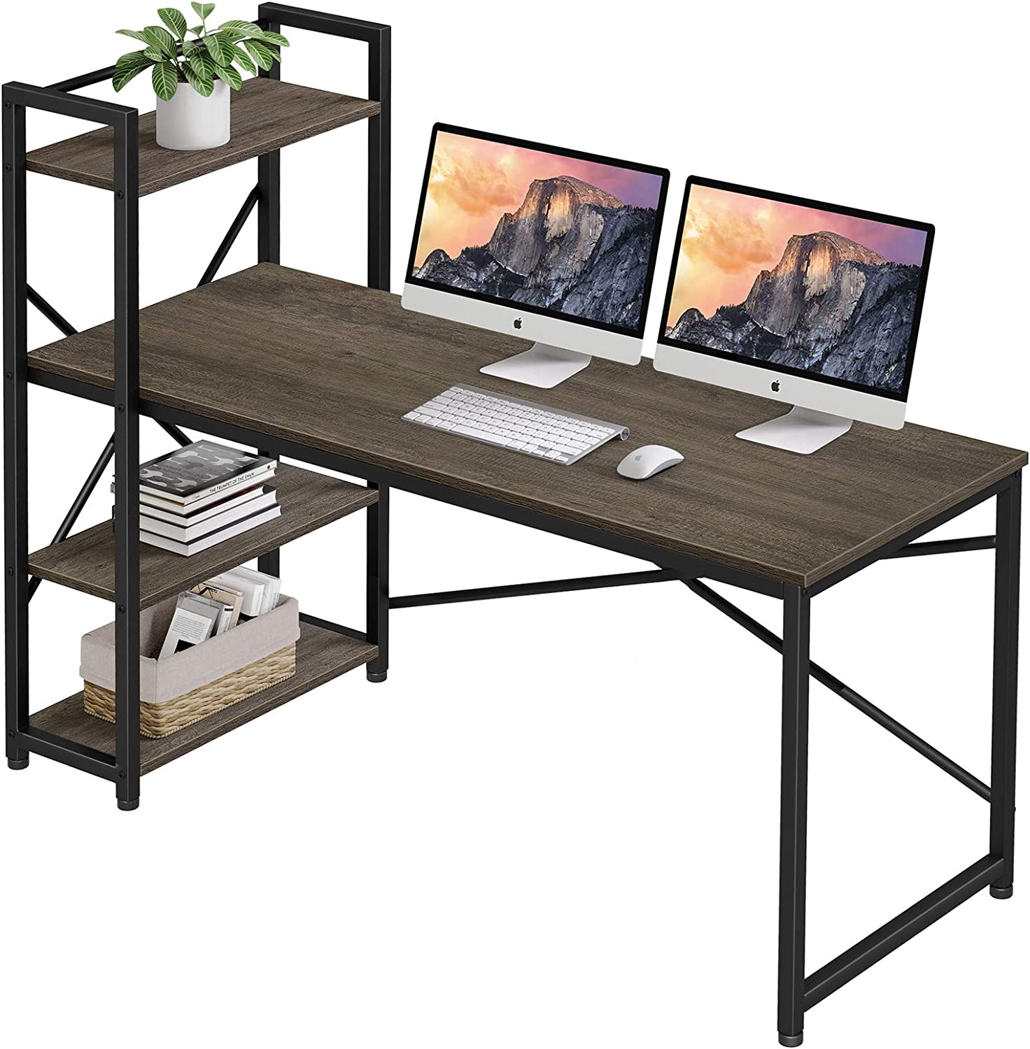 55 Inches Computer Desk with Storage Shelves, Homemaxs Home Office Desks for Small Space, Workstation, Spacious Drawing Desk with 4 Tiers Adjustable Storage for Students, Study, Writing