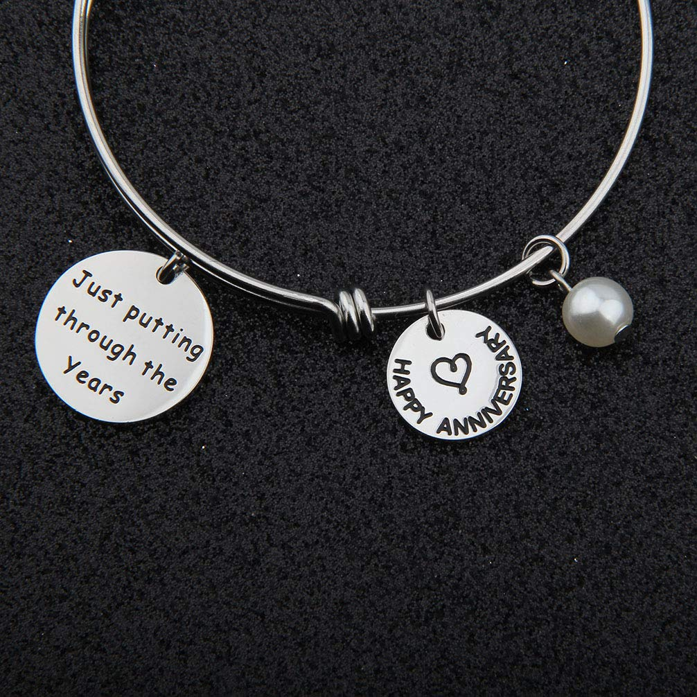 bobauna Happy Anniversary Bracelet Just Putting Through The Years for Girlfriend Wife Mom