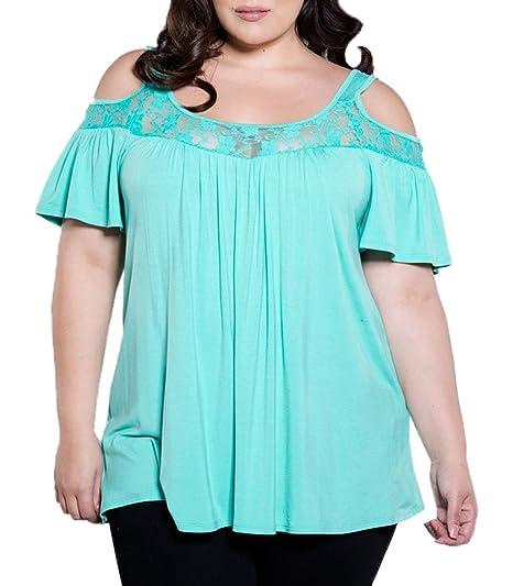 Verano Talla Grande Blusa Mujer Moda Cuello Redondo Sin Hombro Manga Corta Camisetas Tops Colores Lisos Encaje Splicing T Shirt Blouses Remata Camisas: ...