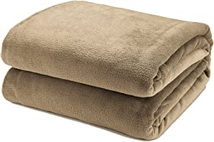 Bedsure Flannel Fleece Luxury Blanket Camel Beige King Size Lightweight Cozy Plush Microfiber Solid Blanket