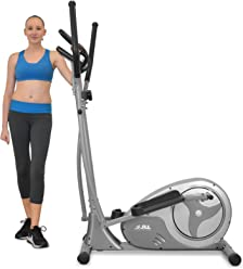 JLL CT300 Home Luxury Elliptical Cross Trainer, 2018 New Magnetic Resistance Elliptical Fitness Cardio Workout with 8-level Magnetic Adjustable Resistance, 5.5KG Two Way Flywheel, Console Display with Heart Rate Sensor and Tablet Holder. Silver Colour