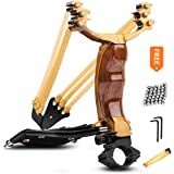 Professional Slingshot Stainless Steel Outdoor Hunting Sling Shot High Velocity Catapult with 2 Rubber Bands 90 Slingshot Ammo
