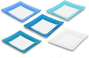 GAC Unique Design Assorted Blue Colors Square Tempered Glass Dessert Plates – 6 Inch – Set of 5 – Break Resistant – Oven, Microwave, and Dishwasher Safe – Attractive Multi-Colored Salad Plate Set