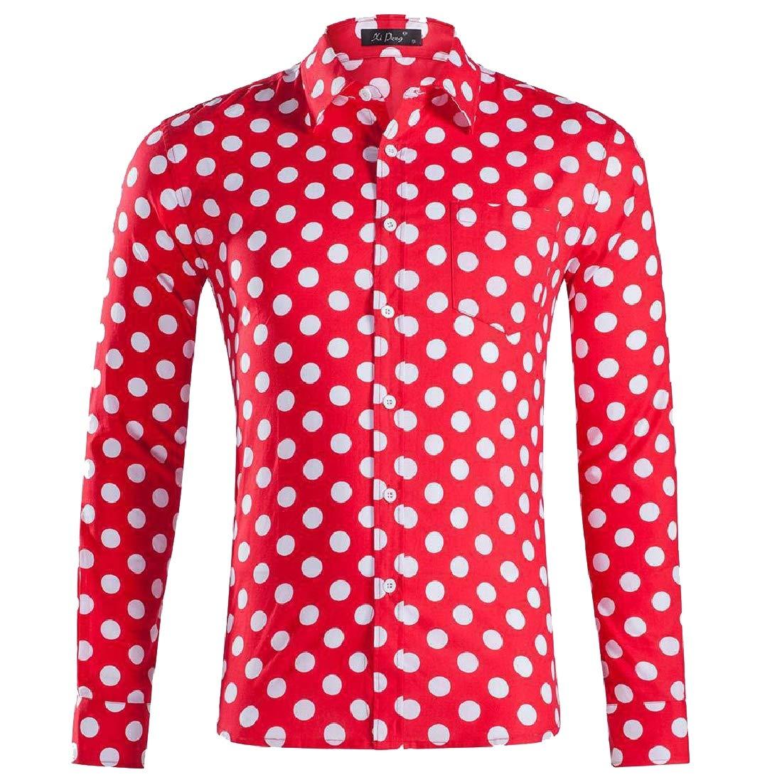 hower Men Casual Formal Polka Dot Long Sleeve Shirt Business Shirt Printed Blouse