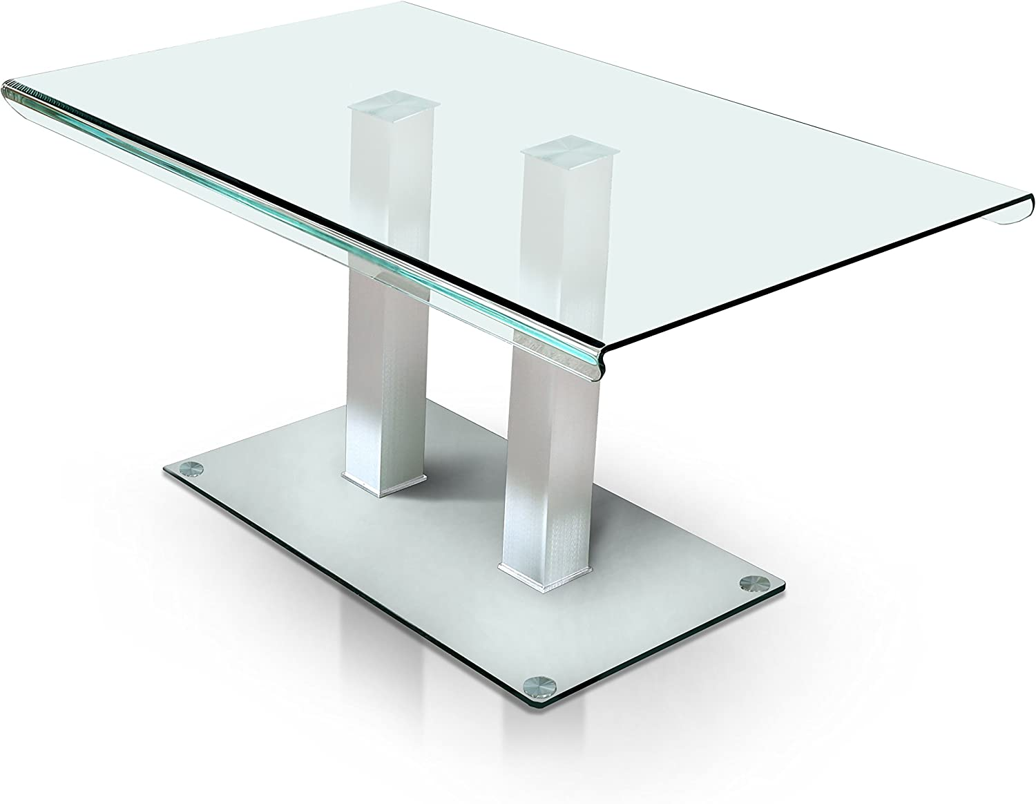 HOMES Inside Out Silver Listoll Contemporary Glass Dining Table
