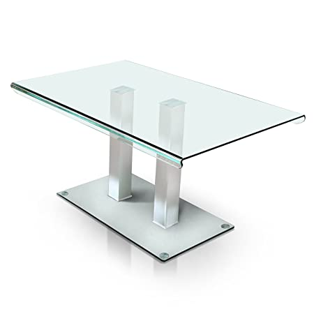HOMES Inside Out IDF-3362T Silver Listoll Contemporary Glass Dining Table