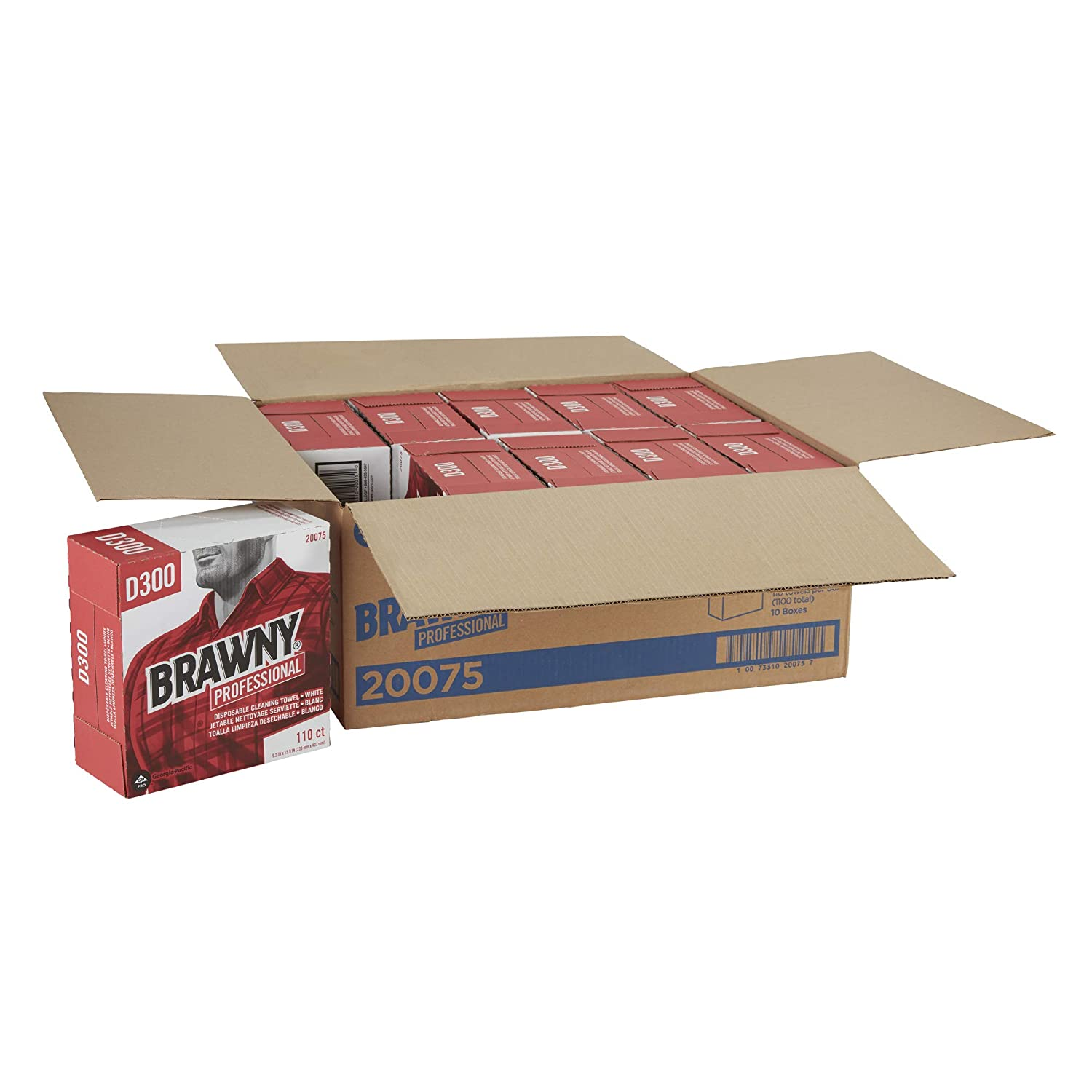 Brawny Professional D300 Disposable Cleaning Towel by GP PRO (Georgia-Pacific), 20075, Tall Box, White, 110 Towels Per Box, 10 Boxes Per Case: Science Lab ...