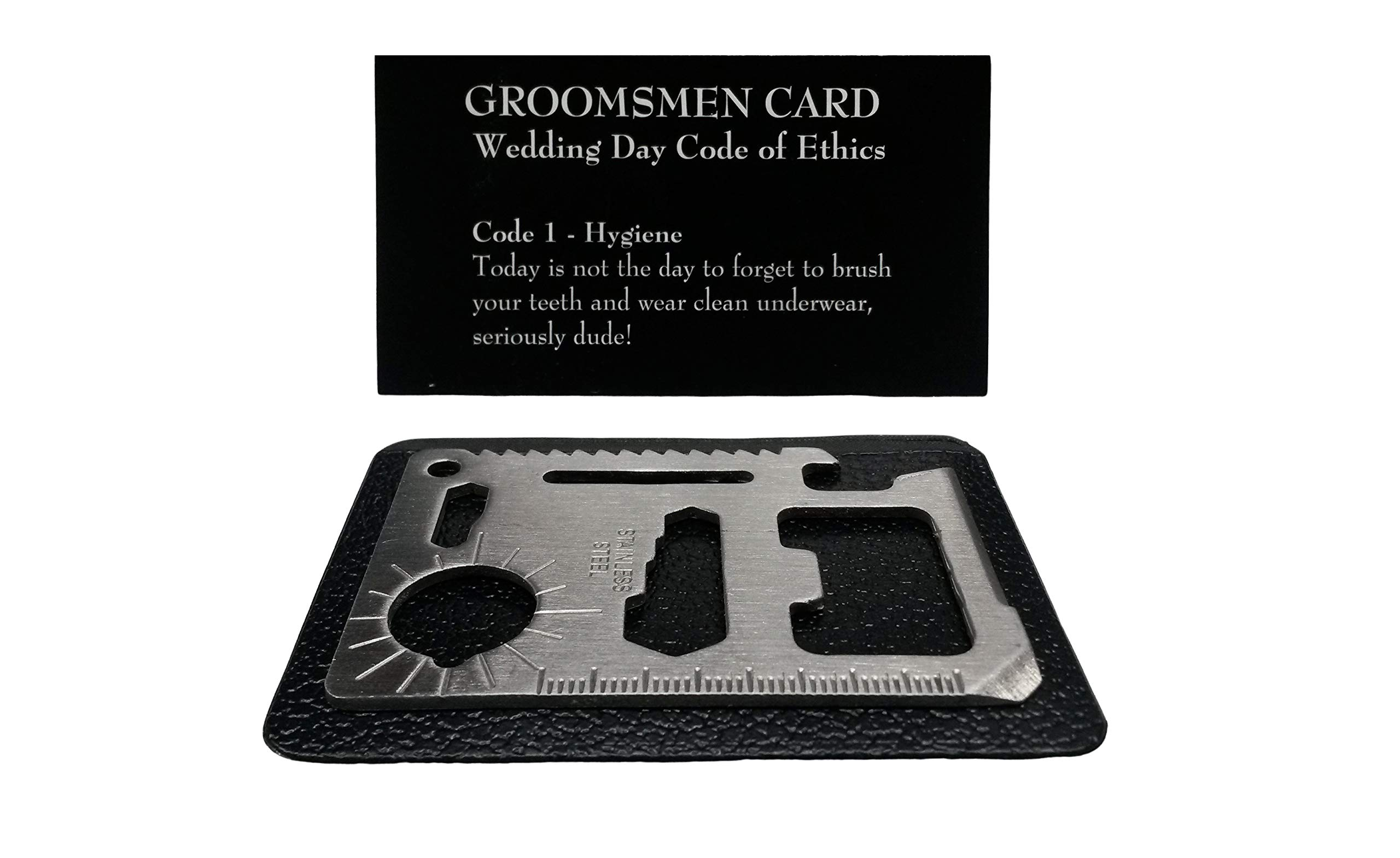 Groomsmen Gifts for Wedding - 6-Pack Pocket Size Man Card and 6-Pack Stainless Steel 11 in 1 Beer Opener Survival Wallet Card Tool Kit