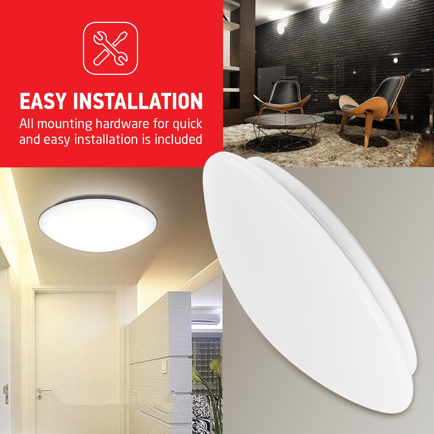 OSTWIN 11-inch LED Flush mount Ceiling Light MS Series 20W (100 Watt equivalent), Dimmable, 5000K (Daylight), 1864 Lumens, White Finish with Acrylic shade, ETL and ENERGY STAR listed by OSTWIN (Image #6)