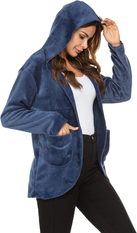 Ekouaer Womens Long Sleeve Solid Fuzzy Fleece Open Front Hooded Cardigans Jacket Coats Outwear with Pocket