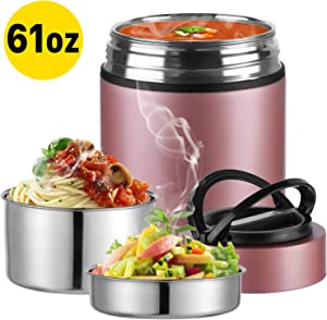 Upgraded 2020 Version Insulated Food Storage Container Thermos, KKD Food Jar Stainless Steel Vacuum Soup Lunch Flask, Leak Proof Hot Cold Food for Office Workers, Picnic, School