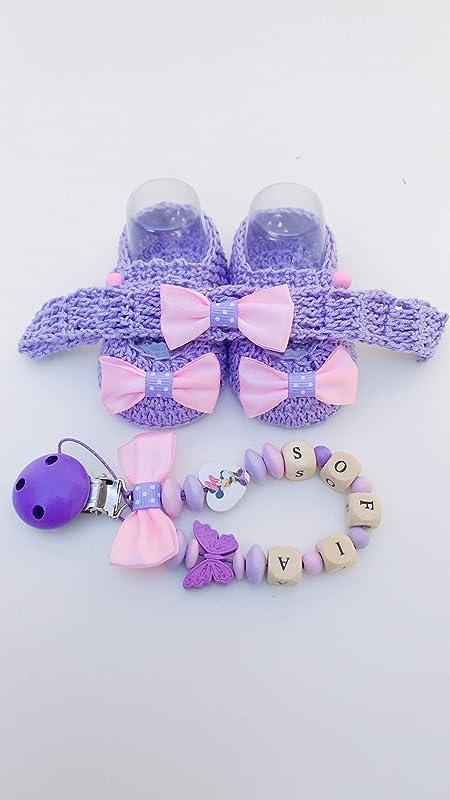 Set lila recién nacido Minnie | cadena de chupete con nombre ...
