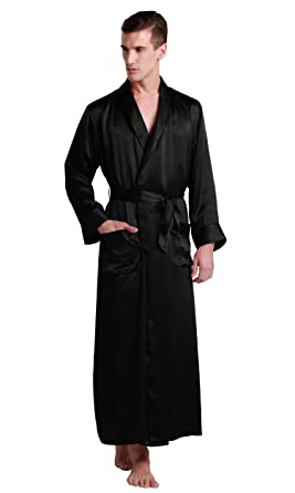 d3dd75ef69 LILYSILK Men s 100 Silk Dressing Gown Silk Kimono Robe Long 22 Momme Pure  Mulberry Silk Black