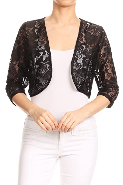 dce2873cced51 First Spring Women's Regular Plus Size Sheer Lace Shrug Cardigan Bolero.  Made in USA.