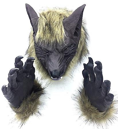 Horror Cabeza Completa Máscara De Hombre Lobo Con Dos Guantes De Hombre Lobo, Mascarada Máscara