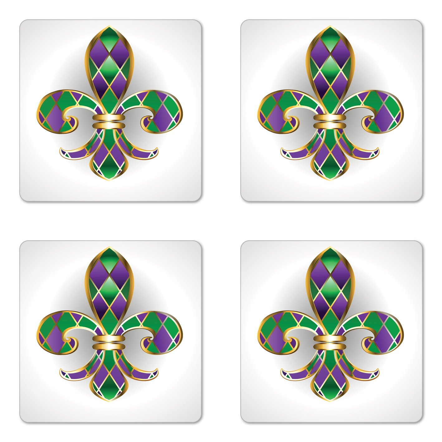Ambesonne Fleur De Lis Coaster Set of Four, Golden Yellow Colored Lily Symbol with Diamond Shapes Royalty Theme Ancient, Square Hardboard Gloss Coasters for Drinks, Purple Green