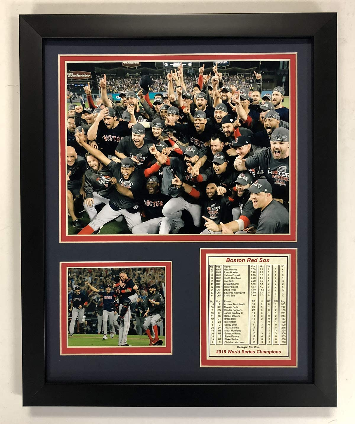 """Boston Red Sox 2018 MLB World Series Champions Collectible - Framed Photo Collage Wall Art Decor - 12""""x15"""" - Legends Never Die"""