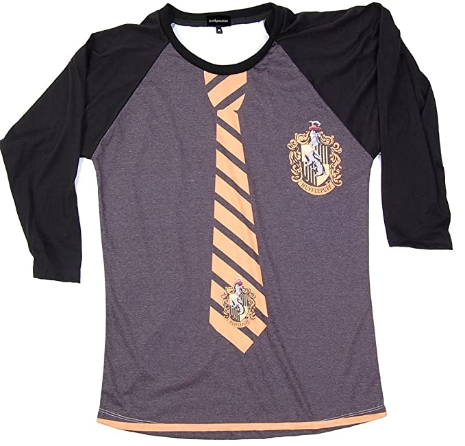 02380a757e30d Harry Potter Hufflepuff Uniform T-Shirt White Long Sleeve Baseball Raglan T- Shirt X