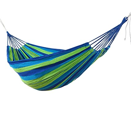 Ramkuwar Camping Hammock, Striped Canvas Fabric Portable Garden Hammocks Ultralight Outdoor Beach Swing Bed with Strong Rope 280 * 100 cm (150 KG)