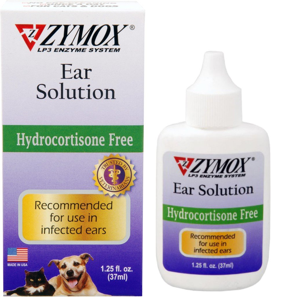 Zymox Otic Enzymatic Ear Solution Hydrocortisone Free for Dogs and Cats 1.25 oz