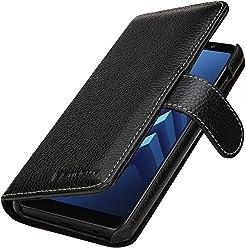 StilGut Talis Case Portafoglio, Custodia in Vera Pelle Cover per Samsung Galaxy A8 (2018) con Chiusura Magnetica, Nero
