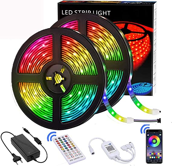 Bedroom Christmas DIY Decoration Rope Lights Strip with 44 Key IR Remote for Ceiling Superior RGB 5050 LED Room 25ft TJOY LED Strip Lights Party Festival Cupboard TV